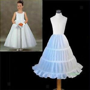 Kid Girls Petticoat Flowergirl Crinoline UnderSkirt 3 Hoop Child Age 2-14