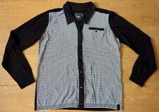 G-STAR RAW 3301 Men's Track Polo Vest Knit Black White Stripe Cardigan Size XL