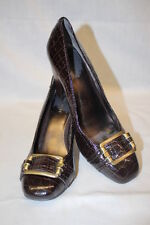 "NINE WEST ""Fancy It"" Brown Textured Patent Closed Toe Heels, Womens Size 8.5M"