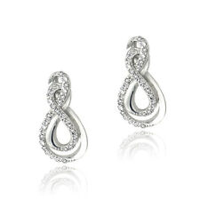 925 Silver Lab Created White Sapphire Intertwined Infinity Earrings