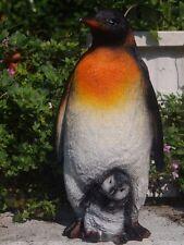 PINGUIN Figur KAISERPINGUIN MIT JUNGEM  wetterfest Dekofigur 21cm Winter