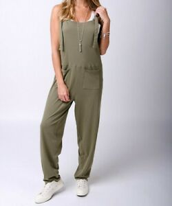 JERSEY JUMPSUIT IN KHAKI Size small (mabel)