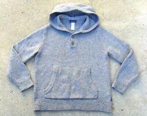 Patagonia Ranchito Hoodie shawl collar Sweater Mens L Merino Wool Pullover Gray