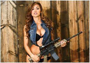 ANA CHERI w/ AR15 GUNS & GIRLS GIANT POSTER FOLDED ar-15 magpul bushmaster dpms