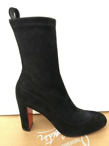 CHRISTIAN LOUBOUTIN Gena Bootie 85 Black Veau Velours Size 38,5