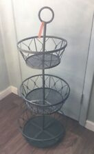 Vintage style Round Wire Storage Basket Bins Shelving 3 Tier Rack  Fruit