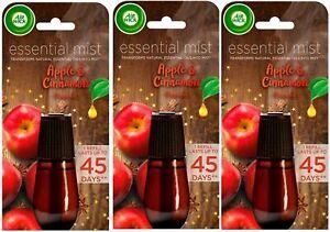 3 x Air Wick Air Freshener Essential Mist Diffuser Refills Apple & Cinnamon 20ml