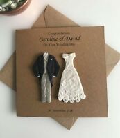 PERSONALISED WEDDING CARD BRIDE AND GROOM, CONGRATULATIONS NEWLYWEDS CARD