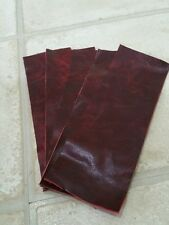 """Oxblood red 9""""×3"""" Vintage You get 5 pieces Aged Real leather offcuts 1.1mmThick"""