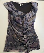 Anthropology Weston Wear ruffled nylon mesh cap sleeve floral top Purple S