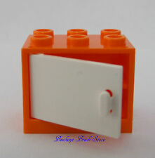 NEW Lego ORANGE CONTAINER w/WHITE Door 2x3x2 Minifig Cupboard Nightstand