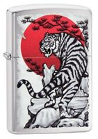 Zippo Asian Tiger Design Brushed Chrome Windproof Pocket Lighter, 29889