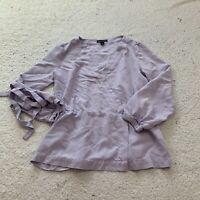 J Crew Womens Purple Vneck Blouse Shirt Eastoc Cuff Wrap Style Spring Size 4
