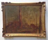 Tableau Ancien Impressionniste Ecole Française Paysage Maisons à l' Aube Huile