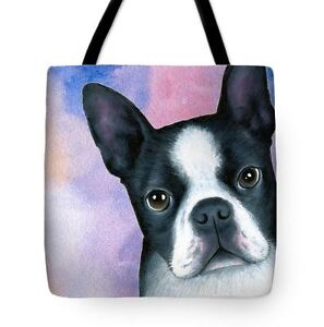 Tote bag All over print Dog 128 Boston Terrier Blue Pink art painting LDumas