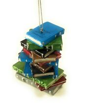Stack of Library School Books Christmas Tree Ornament Resin