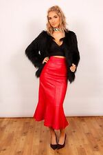 Stunning vintage red leather high waist fishtail skirt sexy kinky fetish DOM