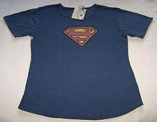 DC Comics Superman Logo Mens Dark Blue Marle Printed T Shirt Size L New