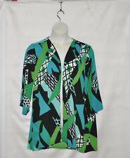 Bob Mackie Carnival Print Chiffon Open Front Cardigan Size 1X Green