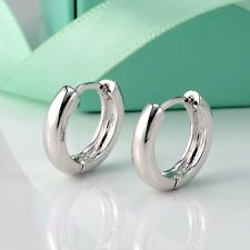 Filled Fashion Hoop Huggie Women's Jewelry Cute Smooth Earrings 18k White Gold