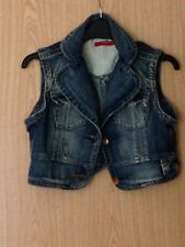 Sonneti Blue Denim Cropped Crop Waist Coat Jacket Size 10