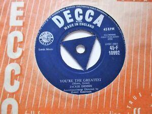 JACKIE DENNIS     LA DEE DAH c/w YOURE THE GREATEST   1958  DECCA RECORDS
