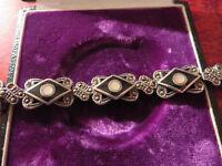 Hübsches 925 Silber Armband Jugendstil Art Deco Markasit Schwarz Email Perlmutt
