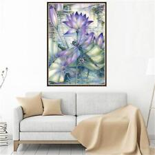 Dragonfly Lotus Flower 5D Full Diamond Painting Embroidery DIY Needlework Decor