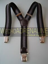 MENS MEN BRACES SUSPENDERS BLACK GREY BAND WIDE SOLID HEAVY DUTY 40mm! TROUSERS