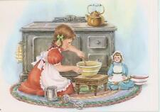 VINTAGE GIRL CHILD TEA POT DOLL MIXER FLOUR SIFTER STOVE BAKING CARD ART PRINT