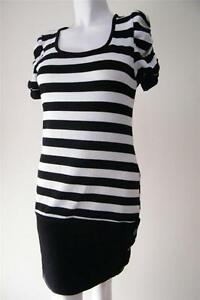 LADIES BLACK AND WHITE STRIPED KNIT TUNIC SIZE M 10 NEW