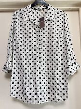 Ladies M&S Pure Cotton Shirt Polka Dot White & Black Collard Summer Blouse