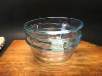 3 Corning Pyrex Bowl Cups blue green tint glass custard #464 USA 10 oz