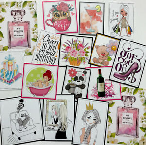 """*SALE* Clear Out Set AS PHOTO Mixed Printed Images/Toppers 2-4"""" (0039)"""