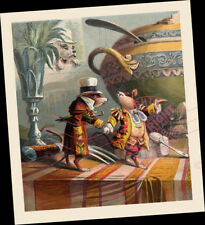 "Fancy Dressed MICE Rats at Tea Party Table 10""x12"" ART Print dinner chat w dog"