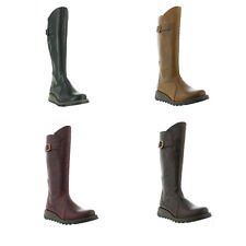 Fly London Mol 2 Womens Ladies Leather Zip Up Knee High Wedge Boots