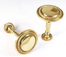 Pair Of Solid Brass BEADED Stem Pedestal Curtain Holdbacks NEW