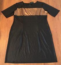 NWT Ashley Stewart Women's Color-block T-Shirt Dress Plus Sz 22/24 Black/Bronze