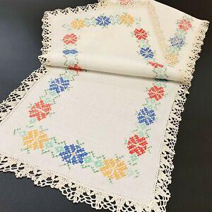 Vintage White Linen Table Runner Doily 31x118cm Baltic CrossStitch Crochet Edge
