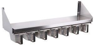 Gewürzbord Edelstahl Gewürzregal Gastro Wandbord mit 7 x 1/9 GN 1200 X 200mm