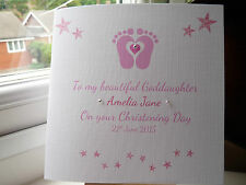 Handmade Personalised Christening Naming Day Card Goddaughter Godson Boys Girls
