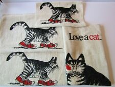 Lot of Vintage B Kilban Red Sneaker Cat Hand Towels 1970's Hard To Find 16 x 25