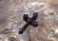 bildschönes kleines antikes Granat Kreuz Kettenanhänger Antikschmuck