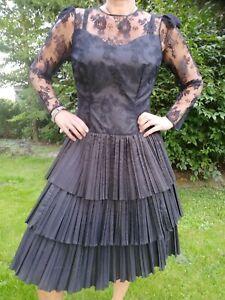 80er Jahre Damen Abendkleid Vintage Cocktail Ballkleid Hochzeit schwarz Gr. 40