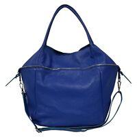 Italian bright blue soft calf leather handbag & shoulder strap;Vittoria Pacini