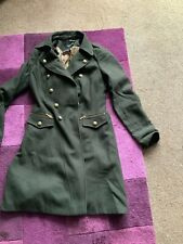 Khaki Green Military Style Wool Coat With Brass Buttons Size 10 As Pictured