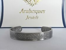 ARABESQUES QUALITY Mens M/L Celtic copper magnetic bangle/bracelet Silver AJMB