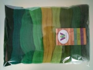 Green set* Pure Merino Wool for Needle and Wet Felting packs of 30 60 or 90 g