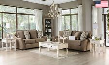 Ivory Cushion 2pc Sofa set Flared Curved Arms Chenille Wooden feet Pillow Sofa