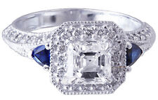 18K WHITE GOLD ASSCHER CUT DIAMOND AND TRIANGLE SAPPHIRE ENGAGEMENT RING 1.75CTW